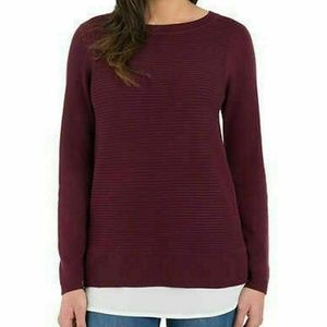 Hilary Radley Women's Long Sleeve Two-Fer Sweater